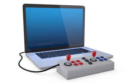 peripherals: Arcade joystick connected to laptop pc isolated on white background. (3D Render)