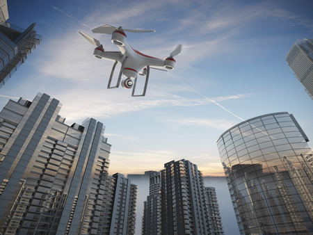 aerial city: Drone Flying for Aerial Photography or Video Shooting
