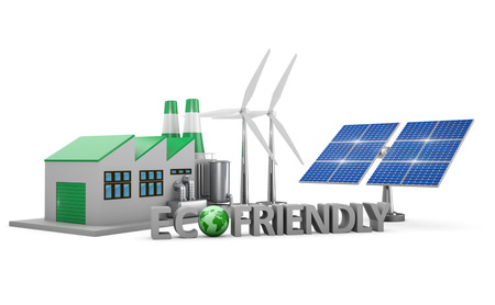 ecofriendly: Ecofriendly concept.  Green factory, wind turbines and solar panel isolated on white background.