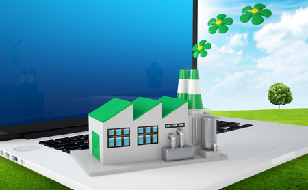 friendly: Environmentally friendly factory concept. Green factory on the laptop.