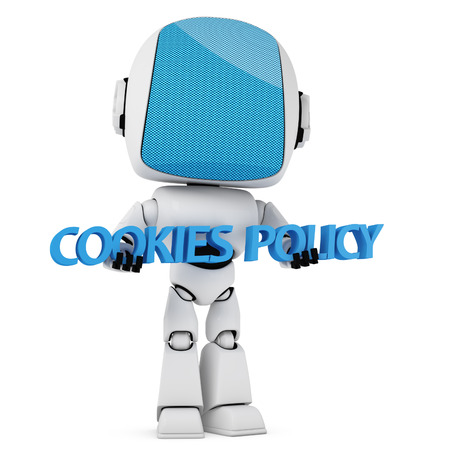 retrieve: Cookies Law Concept. A Robot is holding a 3D Cookies Policy sentence isolated on white background.