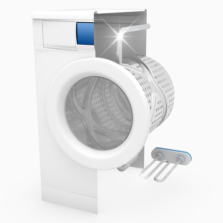Washing machine clean concept isolated on white background - 3D Render