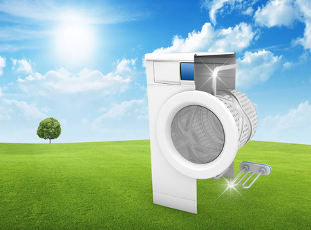 disinfect: Washing machine clean concept on green lawn - 3D Render Stock Photo