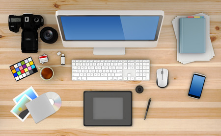 technology career: Home based business concept - Design of modern photographer workspace. 3D Render Stock Photo