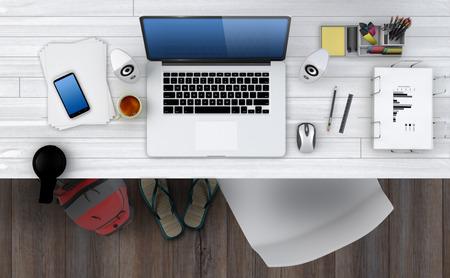 telework: Home based business concept - Design of modern office workspace. 3D Render