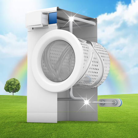limescale: Washing machine clean concept on green lawn- 3D Render