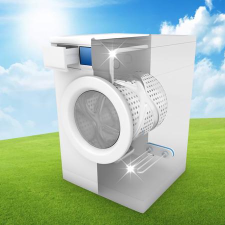 Washing machine clean concept on greeen lawn - 3D Render