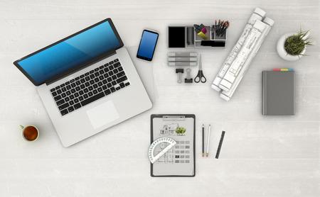 telework: Home based business concept - Design of modern architect workspace. 3D Render