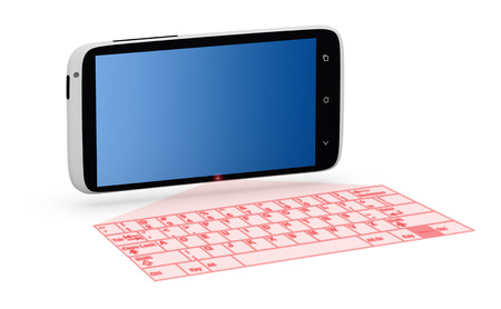 holographic: Smartphone with laser keyboard, holographic projection isolated on white background. Stock Photo