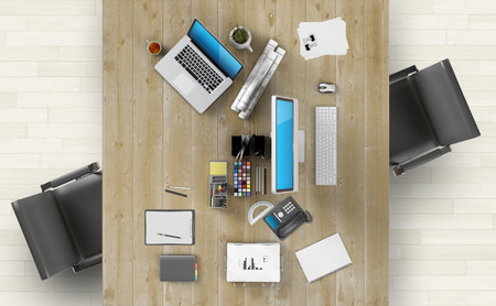 office space: Coworking space concept - Design of modern workspace. 3D Render Stock Photo