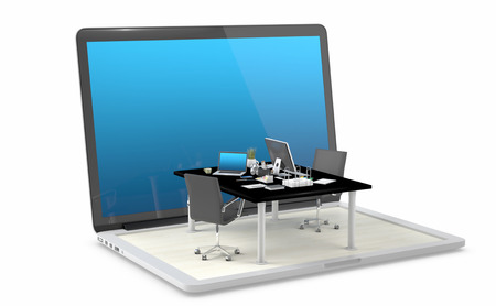 Coworking space comes out from laptop - Design of modern workspace. 3D Render