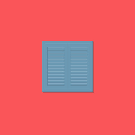 covering: Window shutter on red background - flat design