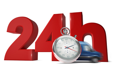 24 hour: Fast delivery concept with words 24Hrs, express van and a chronometer isolated on white background. - 3D Render
