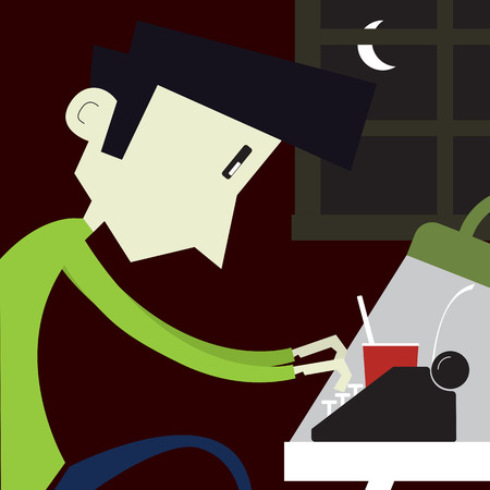 type writer: Young boy typing on a typewriter - Flat style illustration. Stock Photo