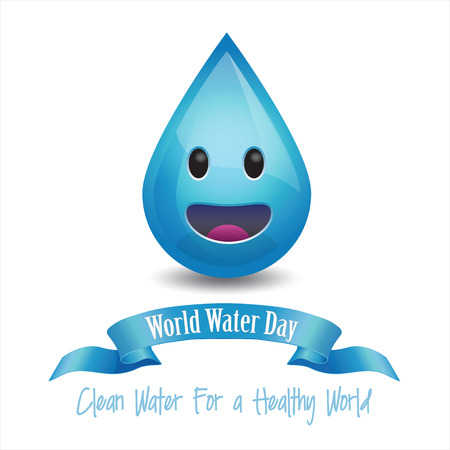 hydra: World Water Day Concept - Smiley water drop on white background.