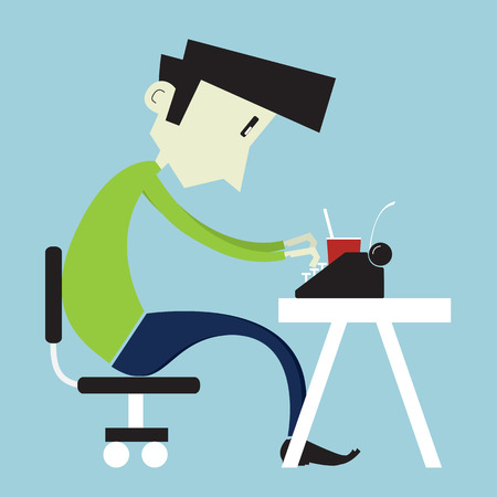 Young boy typing on a typewriter - Flat style illustration. Stock Photo
