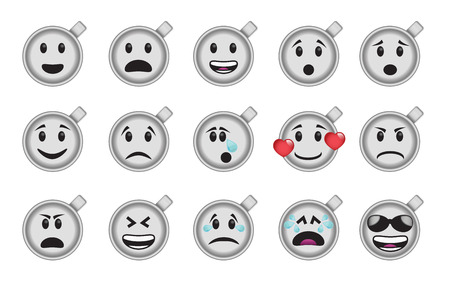 moods: Set of smiley coffee cup icons in different emotions and moods.
