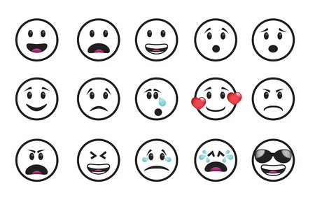 moods: Set of smiley icons in different emotions and moods.