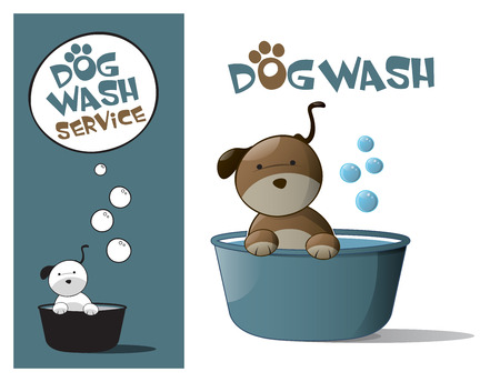 dog: Logo design element. Dog Wash Service. Cute dog in a tub.