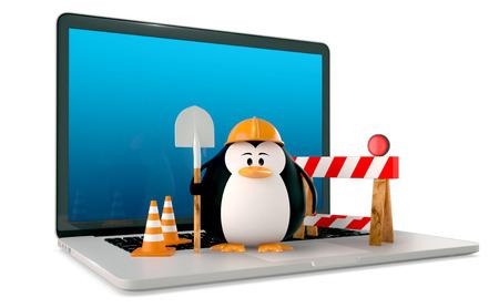 Computer reparatie service concept. Vette pinguïn met werkende hulpmiddelen op de laptop op een witte achtergrond. 3D Render Stockfoto