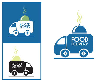 delivery service: Logo design element. Food delivery van with platter.