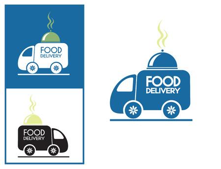 meal: Logo design element. Food delivery van with platter.