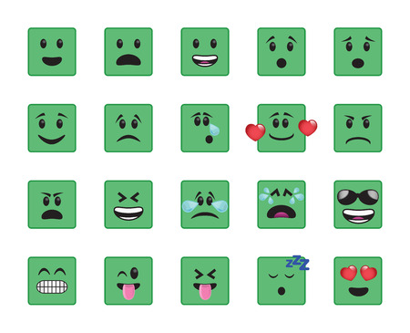 curious: Set of square icons in different emotions and moods.