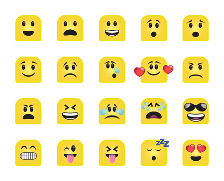 moods: Set of chamfered square icons in different emotions and moods. Stock Photo