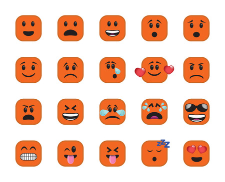 chamfer: Set of chamfered square icons in different emotions and moods. Stock Photo