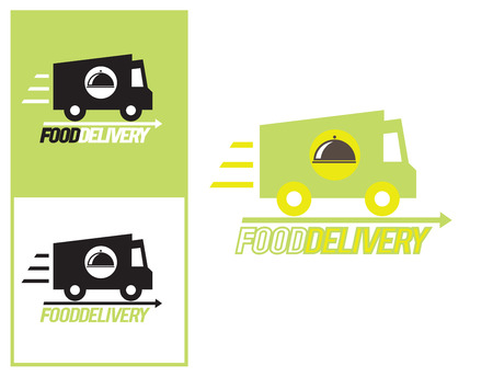 food icons: Logo design element. Food delivery van with platter.