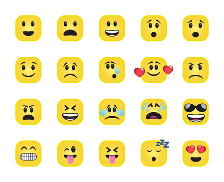 chamfered: Set of chamfered square icons in different emotions and moods. Stock Photo