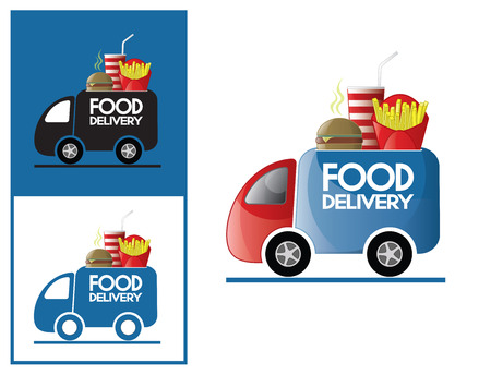 deliver: Logo design element. Fast Food delivery van with hamburger, fries and coke.