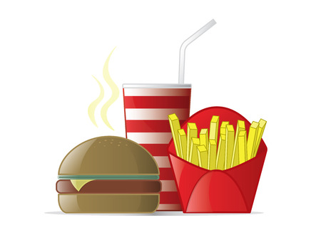 coke: Logo design element. Fast Food meal with hamburger, fries and coke. Stock Photo
