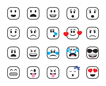 Set of chamfered square icons in different emotions and moods. Stock Photo