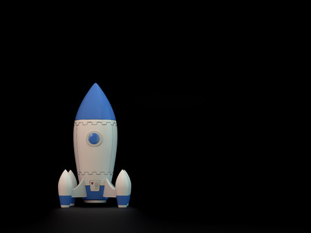 copyspace: Startup concept - Rocket on black background with copy-space.
