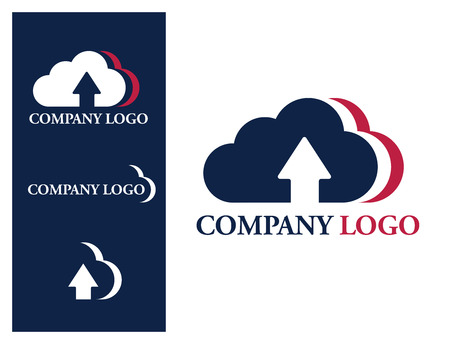 computing: Logo design element. Cloud company logo. Three U.S. colored clouds with upload arrow sign. Stock Photo