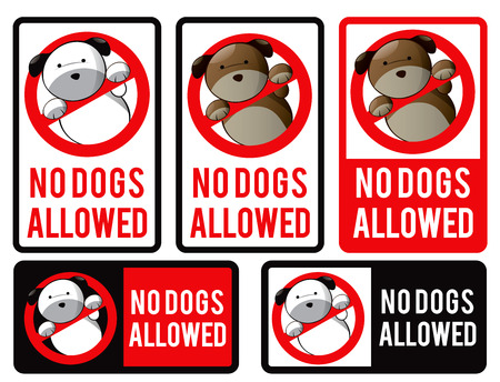 allowed: Logo design element. No dogs allowed stickers.
