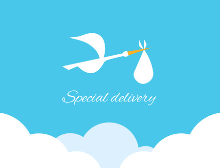 Logo design element. Stork delivering baby in a bag for birth announcement.