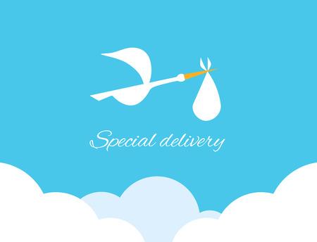 Logo design element. Stork delivering baby in a bag for birth announcement.