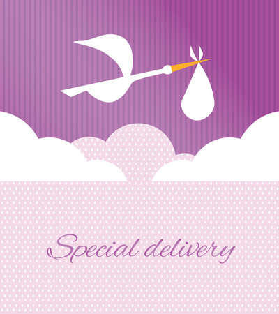 birth announcement: Logo design element. Stork delivering baby in a bag for birth announcement.