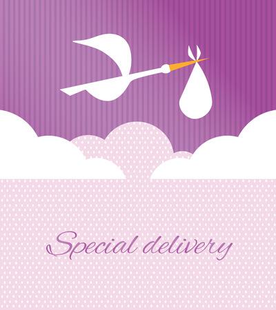 delivering: Logo design element. Stork delivering baby in a bag for birth announcement.
