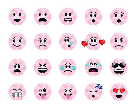 moods: Set of lollipop icons in different emotions and moods.