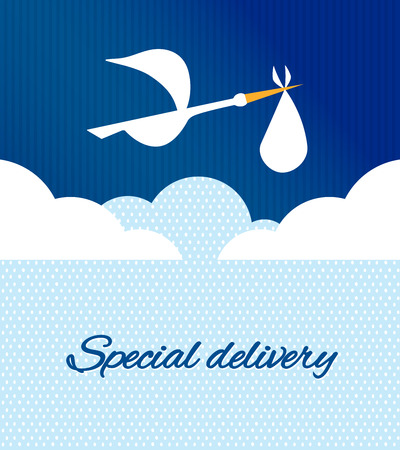 baby bird: Logo design element. Stork delivering baby in a bag for birth announcement.