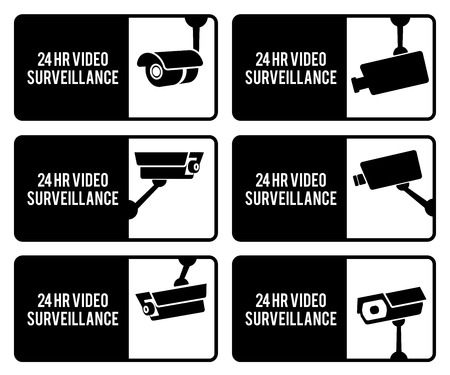 bitmaps: Warning set stickers for security video surveillance. Stock Photo