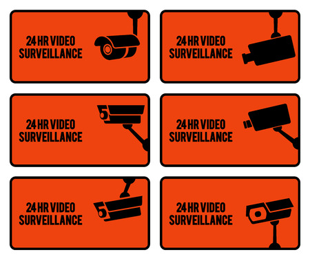monitored area: Warning set stickers for security video surveillance. Stock Photo