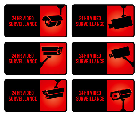 security guard: Warning set stickers for security video surveillance. Stock Photo