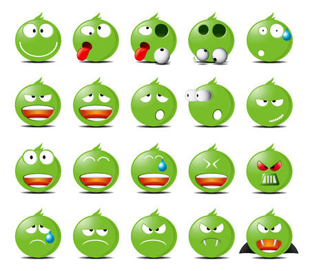 moods: Set of green rounded icons in different emotions and moods.