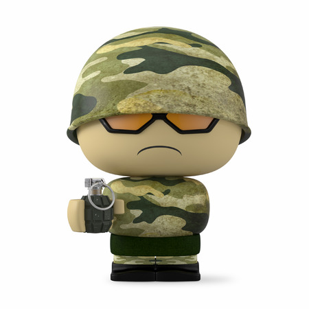 mimetic: 3D Cartoon character. Soldier holding a hand grenade isolated on white background with clipping path. Stock Photo