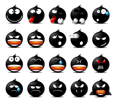 moods: Set of black rounded icons in different emotions and moods.