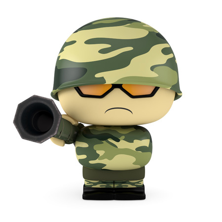 3D Cartoon character. Soldier holding an  antitank rocket launcher weapon. Isolated on white background with clipping path. Stock Photo